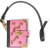 Prada Embellished Textured-leather Keychain - Baby pink