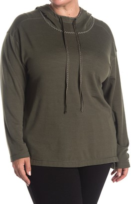 Max Studio Textured Funnel Neck Pullover Hoodie (Plus Size)