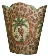 The Well Appointed House Monkey and Palm Tree with Leopard Print Decoupage Wastebasket and Optional Tissue Box