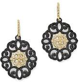 Armenta 18K Yellow Gold and Blackened Sterling Silver Old World Diamond and Black Sapphire Filagree Earrings