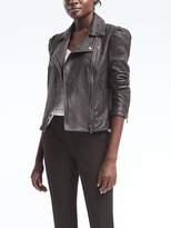 Banana Republic Puff-Sleeve Leather Moto Jacket