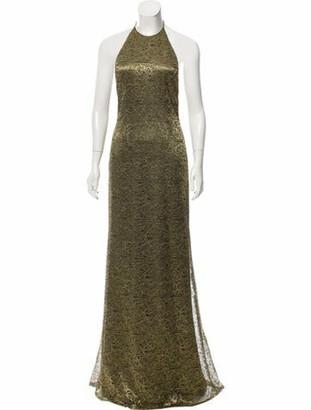 Carmen Marc Valvo Lace Evening Dress Gold