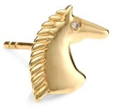 Sydney Evan 14K Yellow Gold & Diamond Horse Single Stud Earring