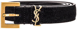 Saint Laurent Light Suede Belt in Black | FWRD