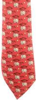 Hermes Hippo Tree & Moon Print Silk Tie