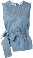 MSGM bow detail tank - women - Cotton/Linen/Flax - 40