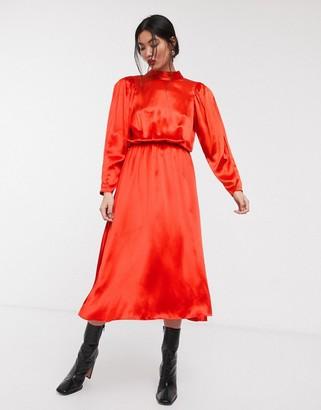 Asos high neck satin open back midi dress-Red