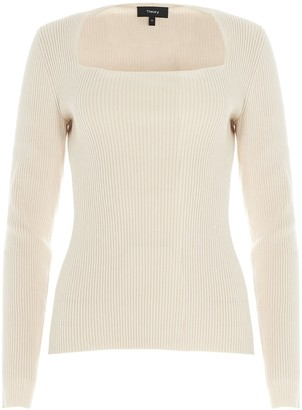 Theory Ribbed Square Neck Jumper
