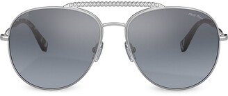 Miu Miu Embellished Aviator-Frame Sunglasses