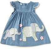 Mud Pie Baby Girls Newborn-18 Months Elephant Flutter-Sleeve Chambray A-Line Dress