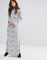 Warehouse Daisy Silk Mix Column Maxi Dress