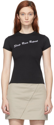 Coperni Black Glitter Eat Sleep Rave Fitted T-Shirt