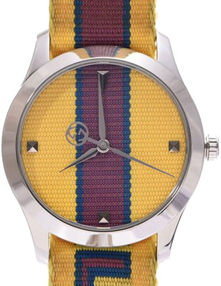 Gucci Yellow/Bordeaux Stainless Steel G-Timeless 126.4 Men's Wristwatch 38 MM