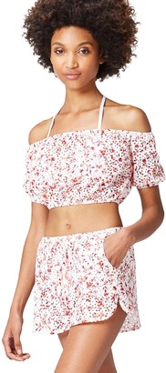 Find. Amazon Brand Women's Bardot Cropped Broidery Short Sleeve Blouse