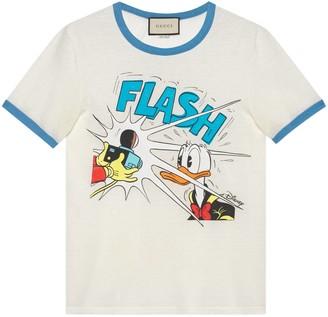 Gucci Donald Duck print cotton linen T-shirt