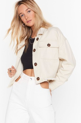 Nasty Gal Womens Nothing's Gonna Crop Us Now Denim Utility Jacket - cream - 8