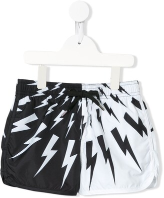 Neil Barrett Kids Lightning Print Swim Shorts