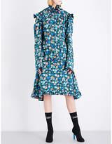 Vetements Biker floral-print silk-satin dress