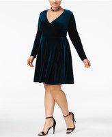 Soprano Trendy Plus Size Faux-Wrap Velvet Dress