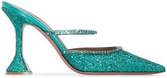 Amina Muaddi Gilda 95 glitter mules