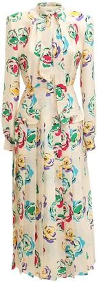 Alessandra Rich Pleated Jacquard Silk Midi Dress