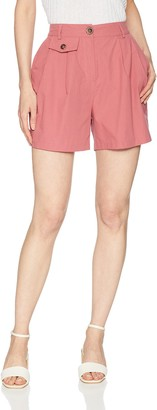 EVIDNT Women's High Waist Light Weight Shorts with Front Pocket Detail