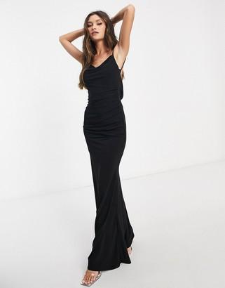 Club L slinky cowl back maxi dress in black