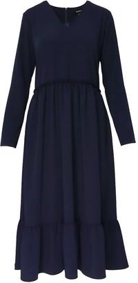 Bluzat Tiered Navy Dress With V-Neck & Pockets