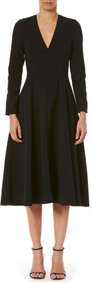 Carolina Herrera Long Sleeve A-Line Midi Dress
