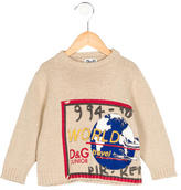 Dolce & Gabbana Boys' Globe Print Rib Knit Sweater