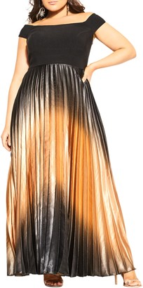 City Chic Passion Pleat A-Line Gown