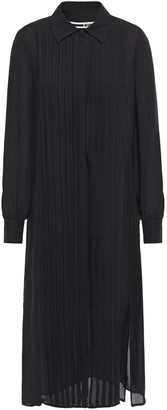 McQ Pintucked Silk-chiffon Midi Shirt Dress