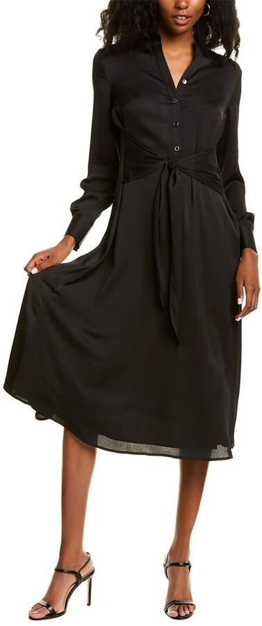 Anne Klein Textured Charmeuse Midi Dress
