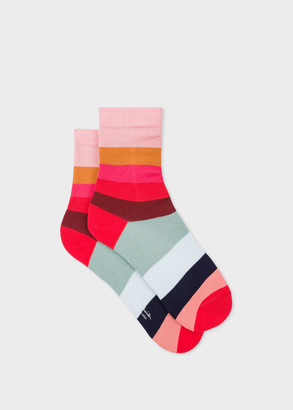 Paul Smith Women's Pink And Red Large Stripe Socks