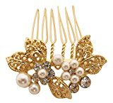 Pick A Gem Small Gold Diamante and Pearl Set Flower Hair Comb / Bridal Hair Accessories by Pick A Gem Hair Accessories
