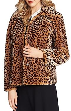 CeCe Leopard Print Faux-Fur Jacket