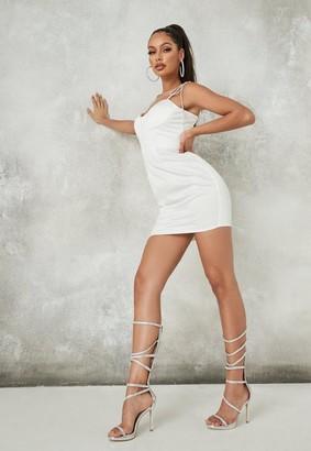 Missguided White Diamante Strap Satin Corset Mini Dress