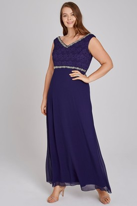 Little Mistress Curvy Drew Navy Hand-Embellished Lace Maxi Dress