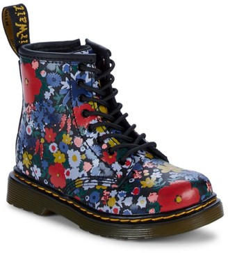 Dr. Martens Girl's Floral-Print Leather Boots