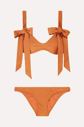 Zimmermann Veneto Bow-detailed Metallic Bikini - Orange
