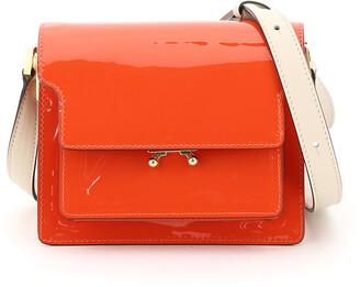 Marni NEW TRUNK MINI SHOULDER BAG OS Orange, Beige Leather