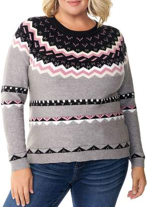 Belldini Plus Fair Isle Jacquard Sweater