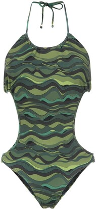 AMIR SLAMA Waves Print Swimsuit