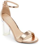 Wild Diva Rose Gold Morris Lucite Heel Sandals