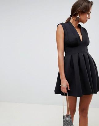Asos DESIGN scuba seamed open back mini prom dress