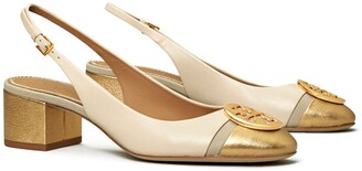 Tory Burch Minnie Metallic Cap-Toe Slingback Pump