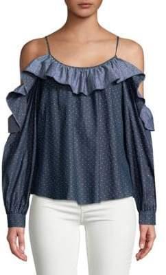 Parker Polka-Dot Cotton Cold-Shoulder Top