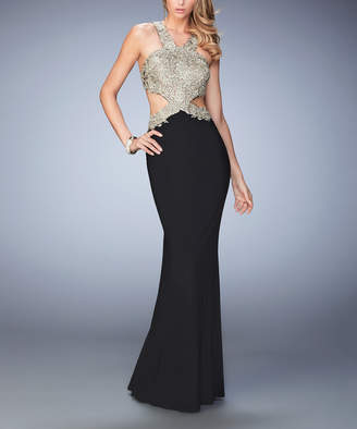 La Femme Women's Special Occasion Dresses Black - Black & Silver Lace Embroidered Cutout-Back Sleeveless Gown - Women