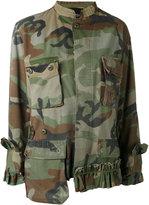 Erika Cavallini frilled camouflage jacket