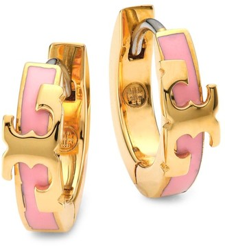 Tory Burch Goldtone Logo & Enamel Huggie Hoop Earrings